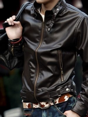 Mens Chocolate Brown Winter Leather Jacket-0