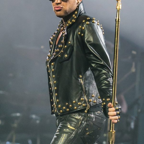 American Singer Adam Lambert Studded Biker Leather Jacket
