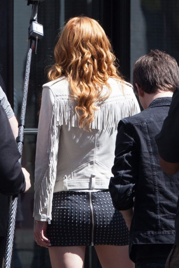 Bella Thorne White Fringe Leather Jacket