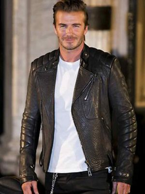 David Beckham Motorcycle Winter Leather Jacket-0