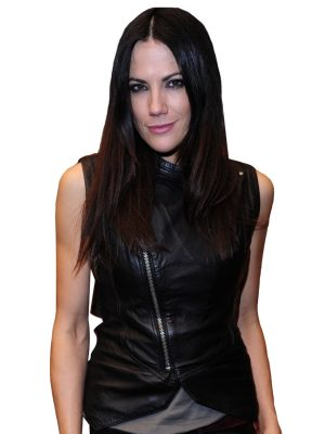 Bettina Zimmermann Black Leather Vest-0