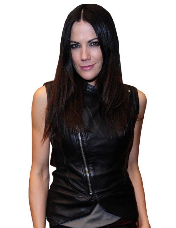 Bettina Zimmermann Black Leather Vest-0