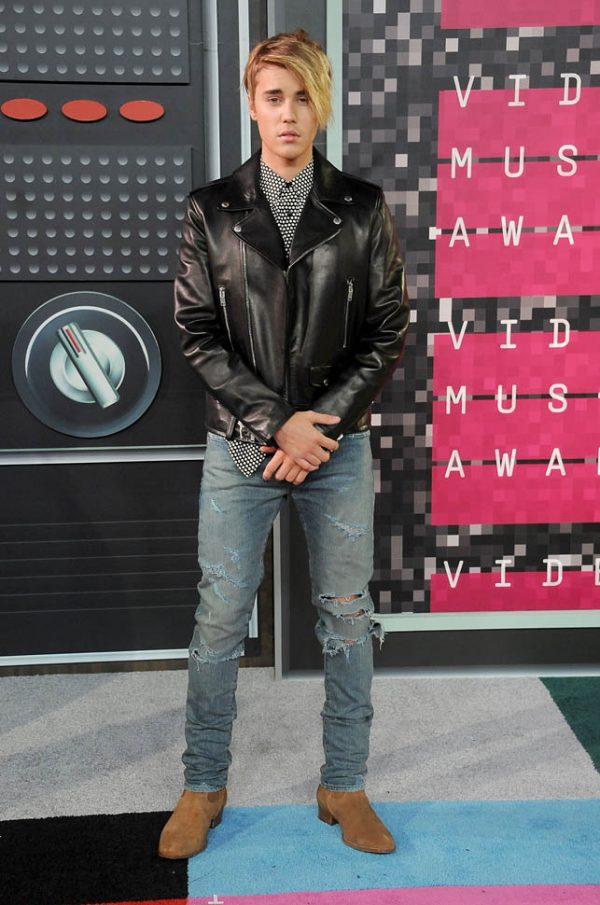 Justin Bieber MTV Music Awards 2015 Black Biker Leather Jacket