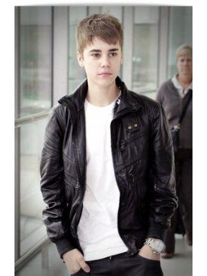 Justin Bieber Black Leather Jacket Heathrow Airport -0