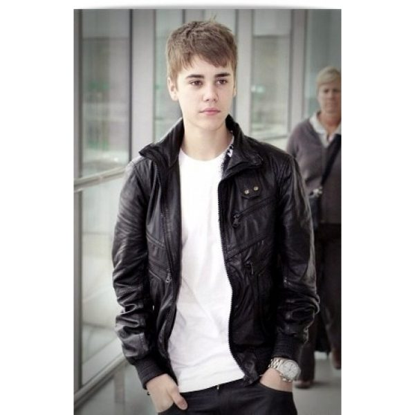 Justin Bieber Black Leather Jacket Heathrow Airport -0