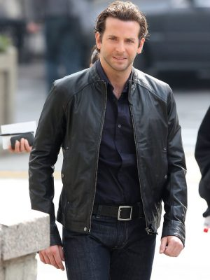 Bradley Cooper Black Leather Jacket Limitless -0