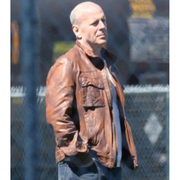 Bruce Willis Brown Leather Jacket From Looper