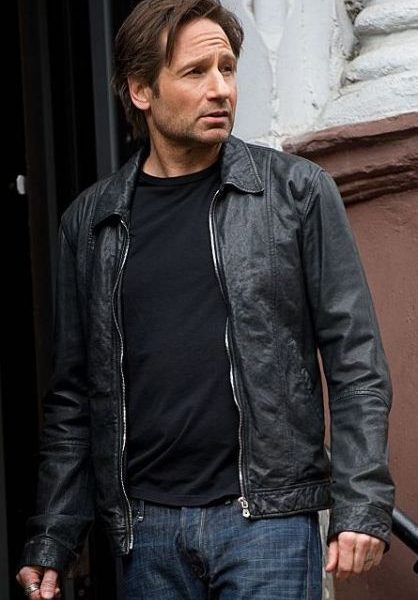 Hank Moody Black Leathe Jacket Californication Season 5 -0