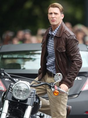 Chris Evens Biker Leather Jacket Avengers Age of Ultron -0