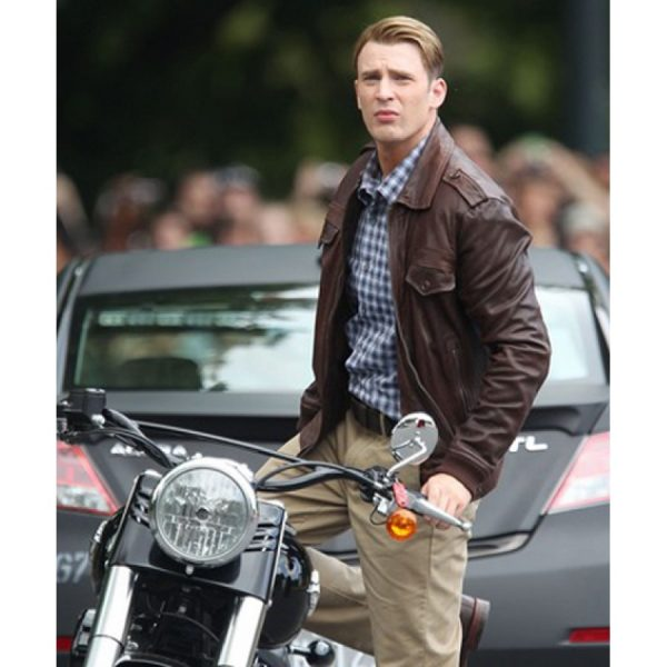 Chris Evens Biker Leather Jacket Avengers Age of Ultron -0