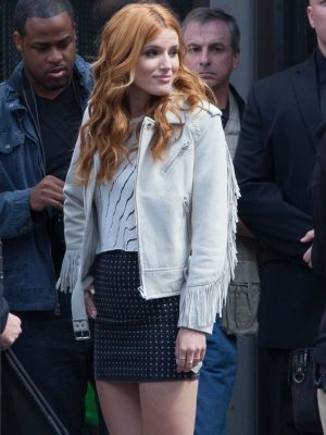 Bella Thorne White Leather Jacket Fringe Series-0