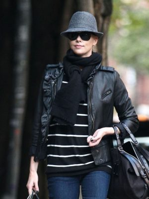 Charlize Theron Black Winter Leather Jacket-0