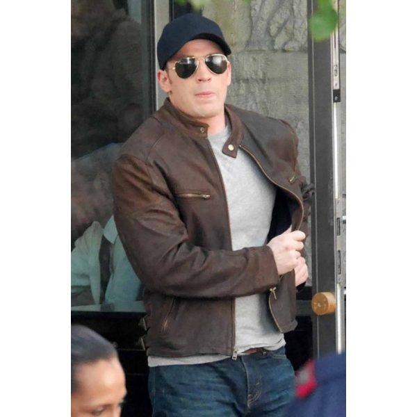 Chris Evens Captain America Civil War Leather Jacket-0