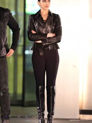 Deepika Padukone Black Leather Jacket