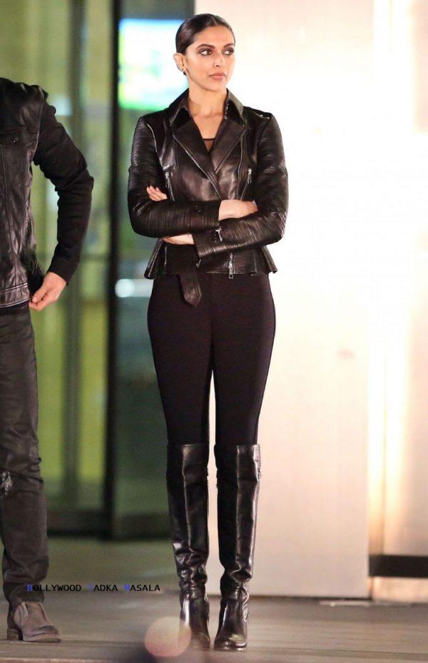 Deepika Padukone Black Leather Jacket