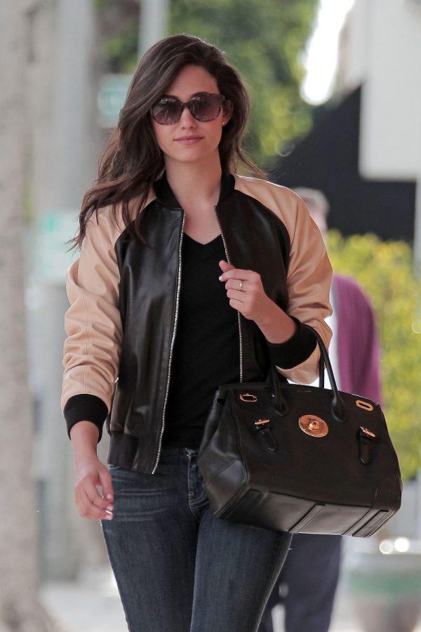 Emmy Rossum Winter Leather Jacket-0