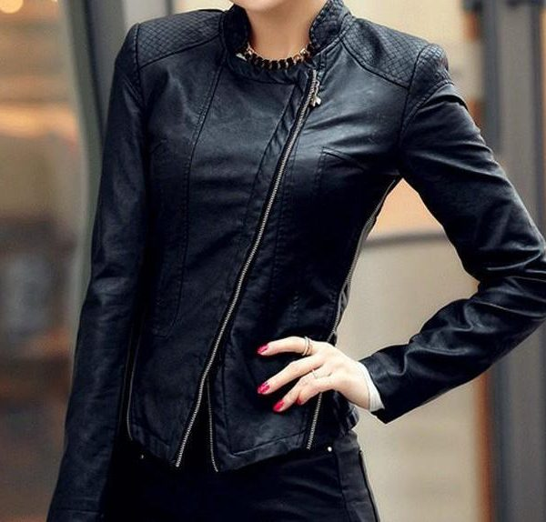 Womens Black Stylish Winter Leather Jacket-0