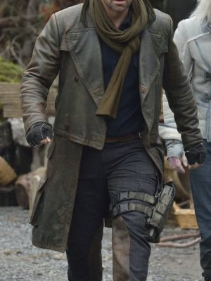 Grant Bowler Brown Leather Coat Defiance Season-0