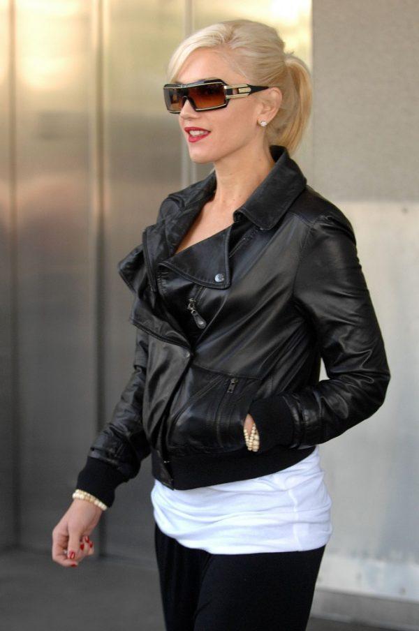 Gwen Stefani Winter Black Leather Jacket-0
