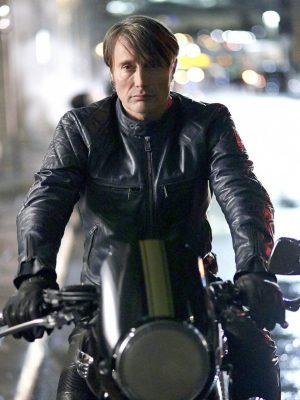 Mads Mikkelsen Black Leather Jacket Hannibal Season -0