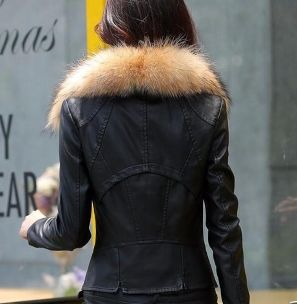 Womens Fur Collar Black Leather Jacket