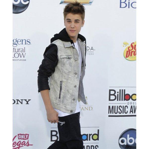 Justin Bieber Denim Hooded Leather Sleeves Jacket