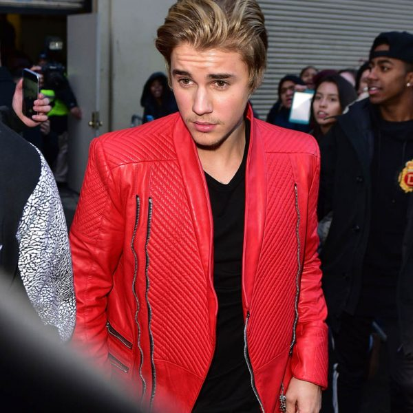 Justin Bieber Red Leather Jacket-0