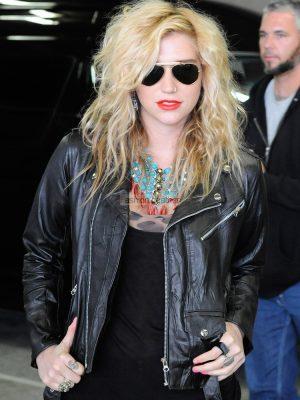 Kesha Black Winter Leather Jacket-0
