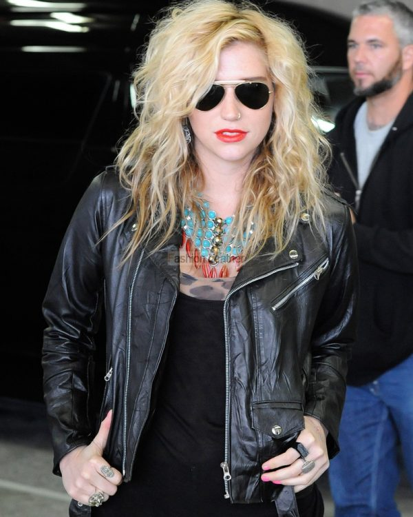 Kesha Black Winter Leather Jacket-0