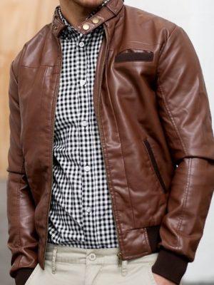 Mens Dark Brown Winter Leather Jacket-0
