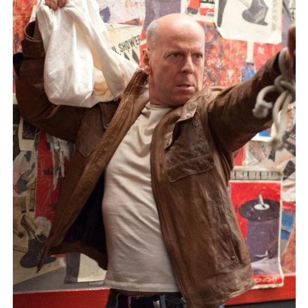 Bruce Willis Brown Leather Jacket Looper -0