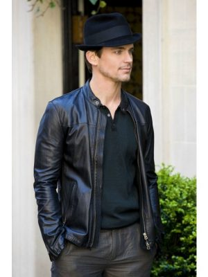 Matt Bomer Black Leather Jacket Tv Series White Collar-0