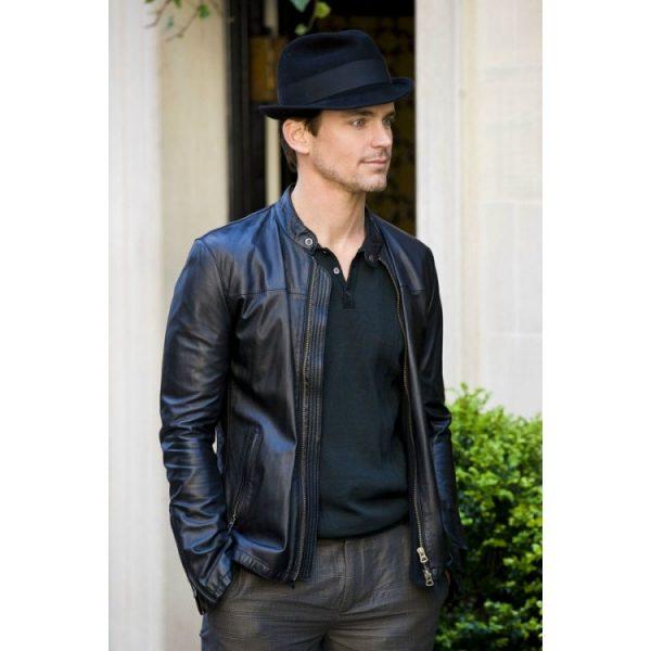 Matt Bomer Black Leather Jacket Tv Series White Collar-0