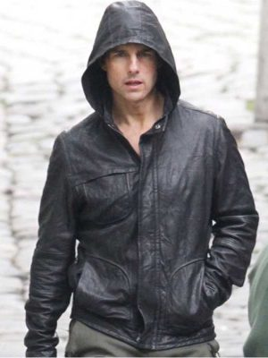 Tom Cruise Black Hoddie Leather Jacket M.I 4 Ghost Protocol-0