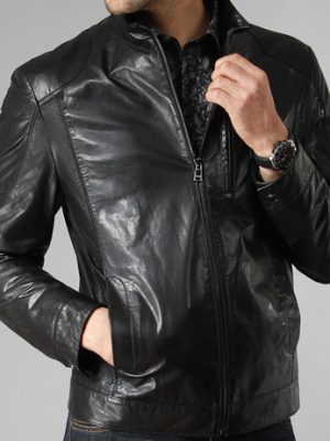 Mens Black Winter Leather Jacket -0