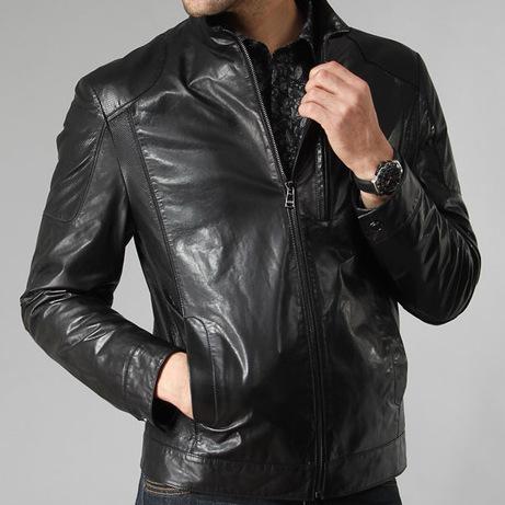 Mens Black Winter Leather Jacket -0