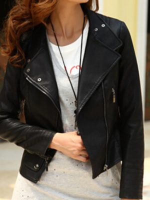 Womens Black Biker Winter Leather Jacket-0