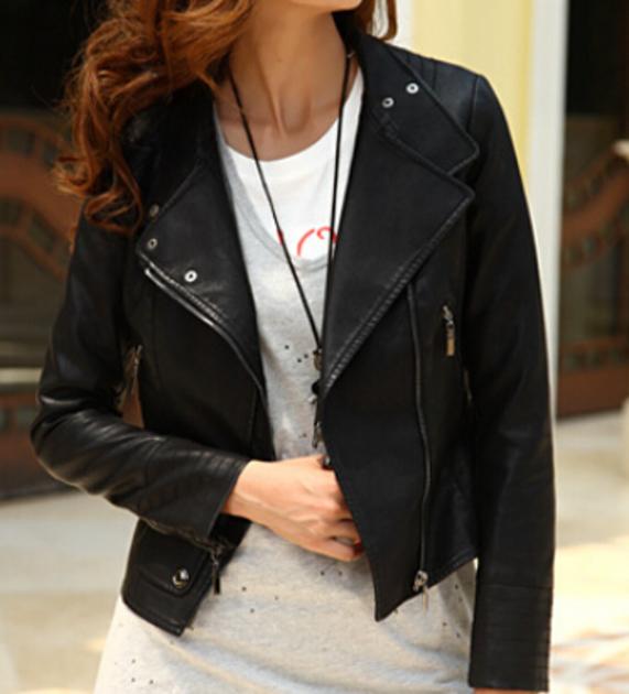 Womens Black Biker Winter Leather Jacket-0