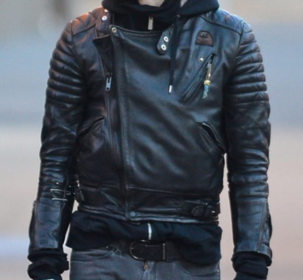 Mens Black Biker Winter Leather Jacket-0