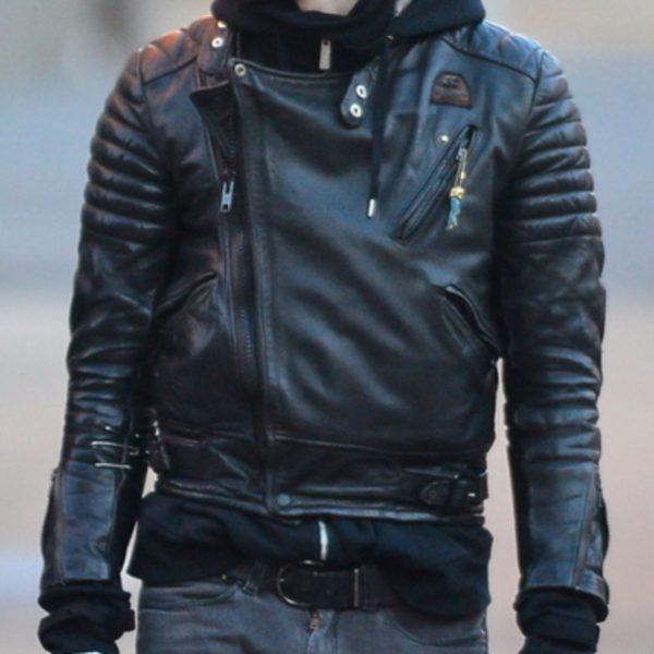 Mens Black Biker Winter Leather Jacket-0