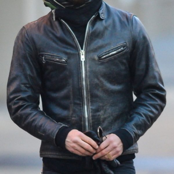 Mens Vintage Black Winter Leather Jacket-0
