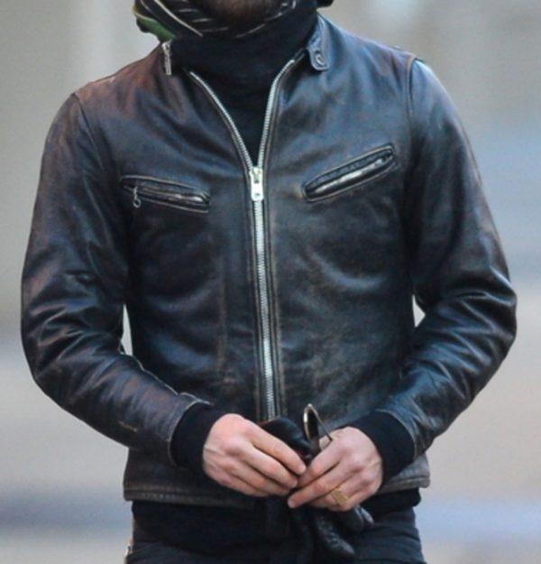 Mens Vintage Black Winter Leather Jacket-0