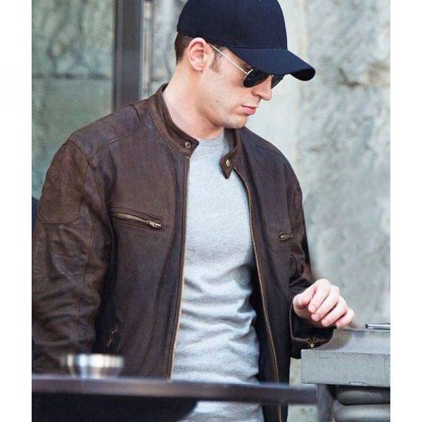Steve Rogers Civil War Brown Leather Jacket