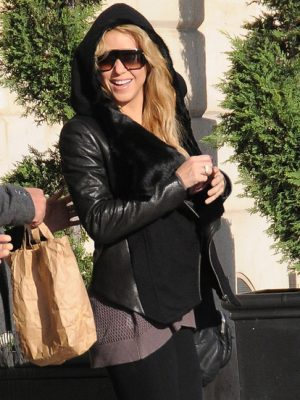 Shakira Brown Fur Winter Leather Jacket-0