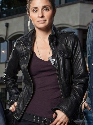 Shiri Appleby Black Leather Jacket season UnReal -0