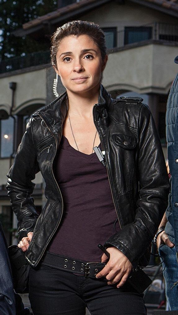 Shiri Appleby Black Leather Jacket season UnReal -0