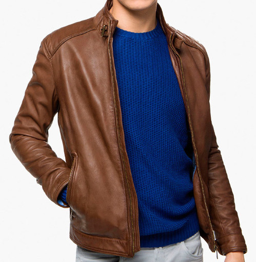 Mens Brown Winter Leather Jacket-0