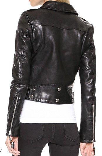 Black Biker Style Leather Jacket