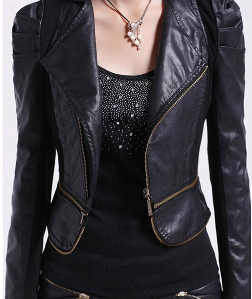 Womens Fashion Style Winter Leather Jacket-0