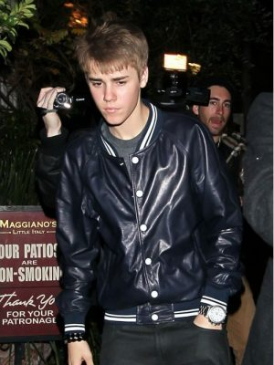 Justin Bieber Blue Leather Jacket-0